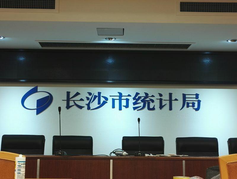 祺祥广告参与长沙市统计局会议室LOGO形象墙设计制作